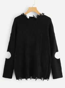 Cut Out Sleeve Raw Edge Sweater