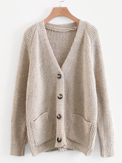 379fc0c180f Solid Button Front Raglan Sleeve Cardigan
