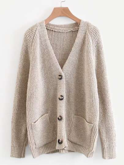 c25e149d408 Solid Button Front Raglan Sleeve Cardigan