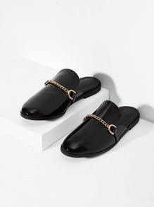 Chain Decorated Mule Flats