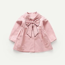 Girls Bow Front Solid Outerwear