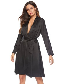 Lace Trim Self Belted Robe