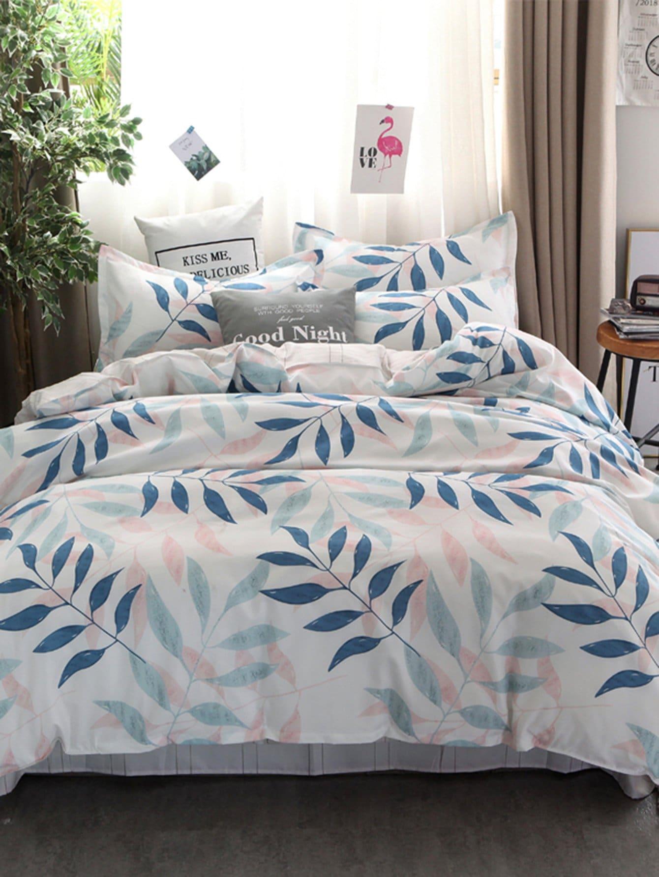 ensemble de draps imprim feuilles french shein sheinside. Black Bedroom Furniture Sets. Home Design Ideas