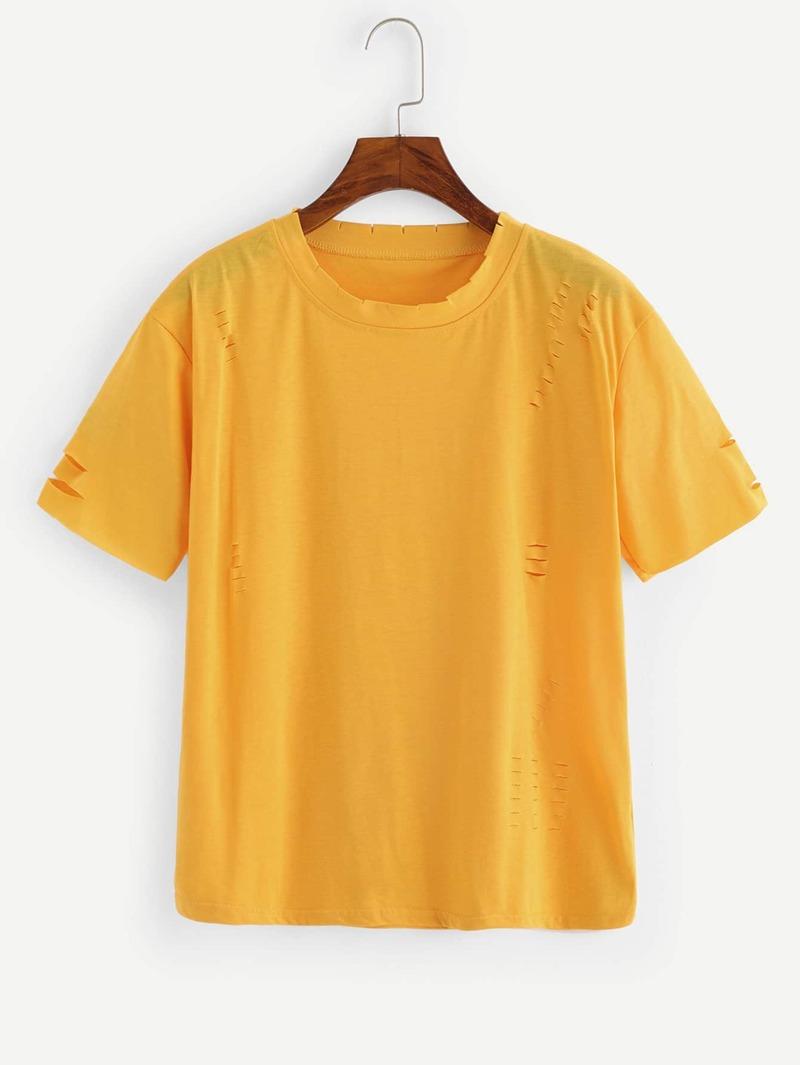 Et Jaune T Shirt Manches Courtes Trou Avec EH9IYDW2