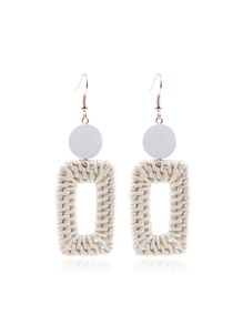 Straw Open Rectangle Drop Earrings 1pair