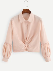 Twist Front Solid Blouse