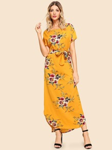 Self Tie Waist Floral Print Dress