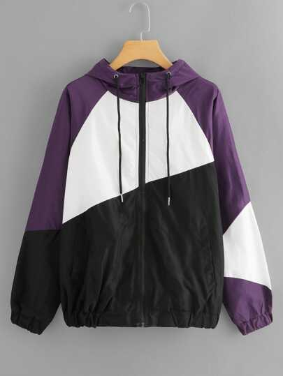 Color Block Drawstring Hooded Jacket