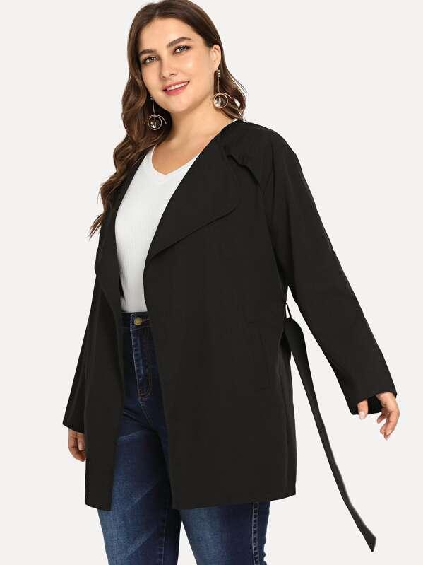 Plus Self Tie Solid Coat by Sheinside