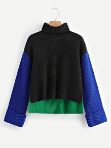 High Neck Colorblock Jumper