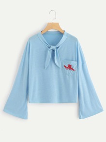 Embroidered Knot Tie Neck Tee