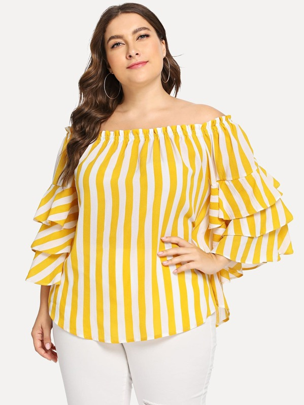 89bc4bd33a1 Plus Layered Sleeve Off Shoulder Striped Top   SHEIN