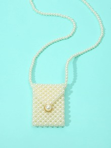 Faux Pearl Detail Crossbody Bag
