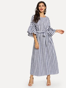 Self Tie Waist Flounce Sleeve Striped Dress