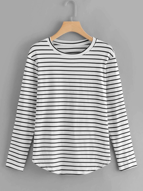 c362a7ac97 Elbow Patch Striped T-shirt | SHEIN