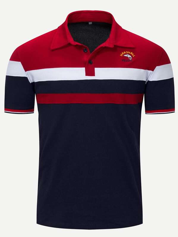 d45d5746dc Men Embroidery Cut And Sew Panel Polo Shirt | SHEIN IN