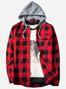 Men Gingham Hooded Shirt