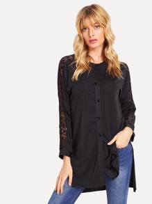 Lace Insert Step Hem Shirt