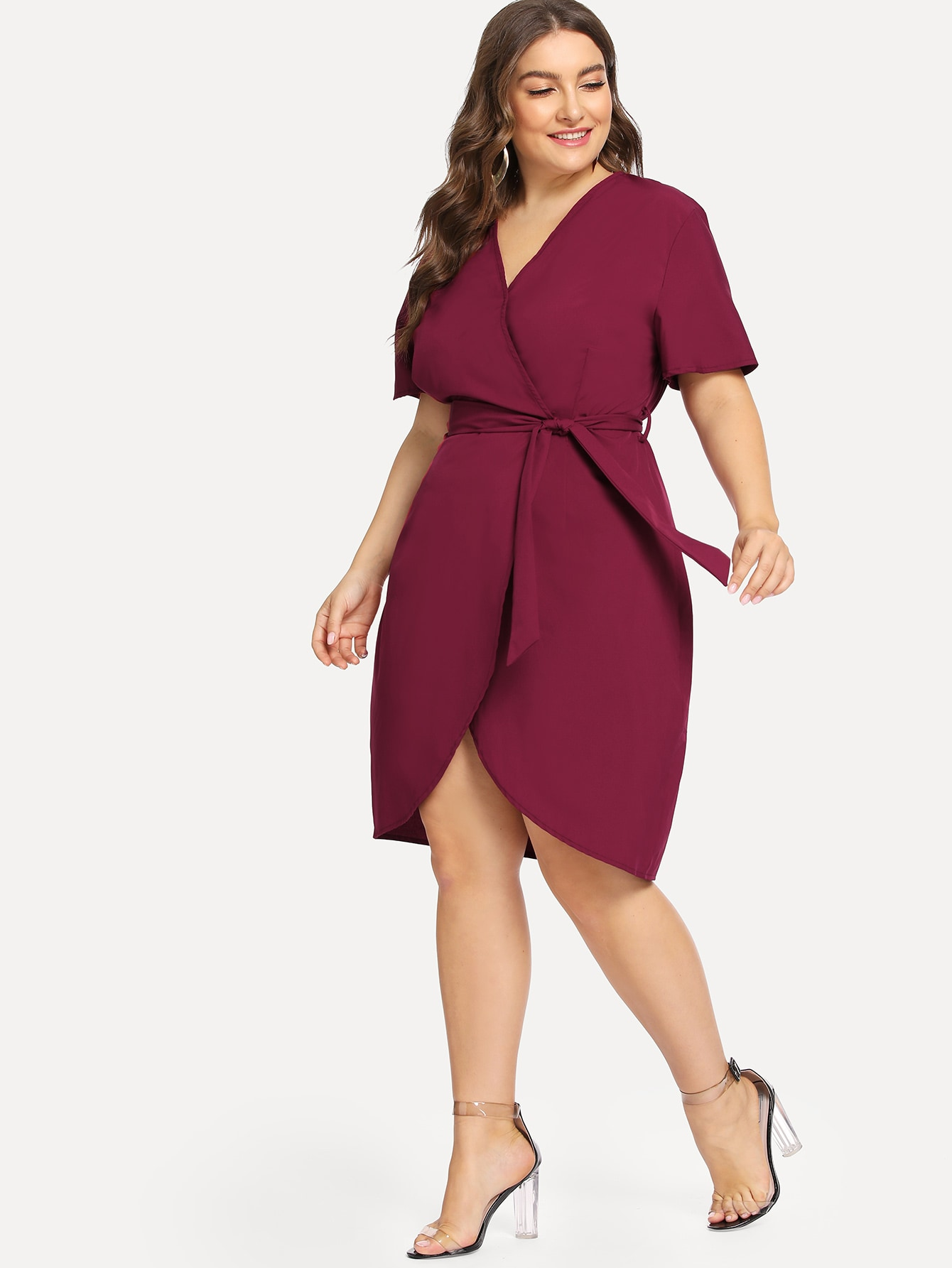 fad9e29f2ad Plus Curved Hem Surplice Wrap Dress   SHEIN