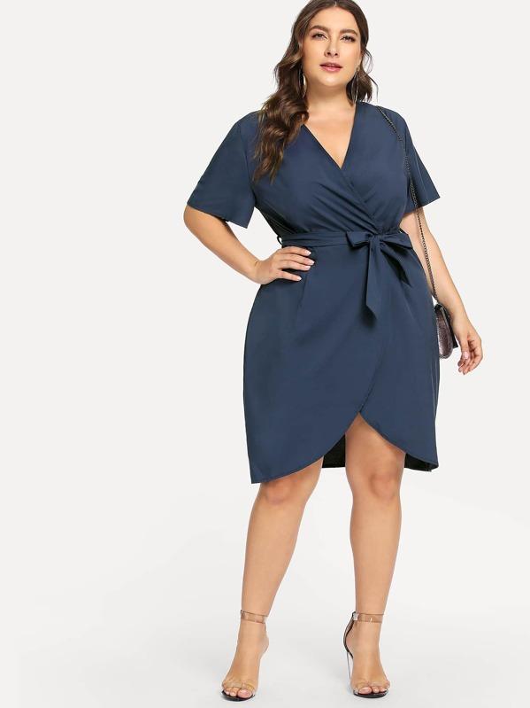 b75c6ec3250 Cheap Plus Curved Hem Surplice Wrap Dress for sale Australia