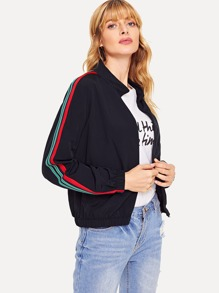 Striped Sleeve Zipper Up Jacket