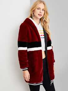 Zip Up Striped Faux Fur Coat