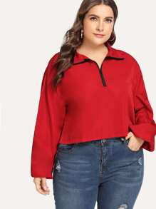 Plus Zip Half Placket Drop Shoulder Sweatshirt