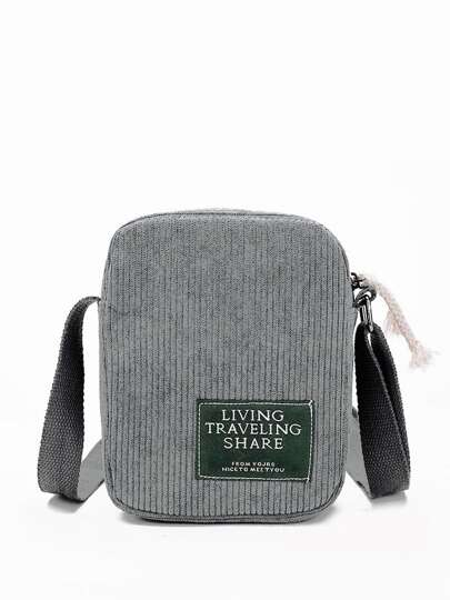 Ribbed Detail Slogan Patch Bag