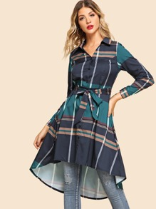 Tie Waist Longline Plaid Shirt
