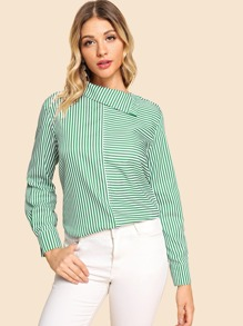 Asymmetrical Neck Stripe Blouse