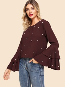 Ruffle Sleeve Faux Pearl Beaded Blouse