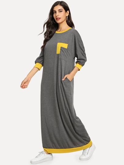 93a4b4958f Pocket Patched Contrast Trim Maxi Dress
