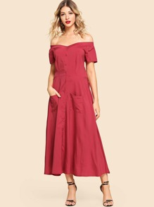 Off-Shoulder Button Front Longline Dress