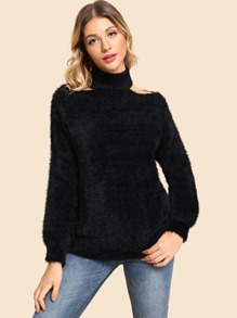Cut-Out High Neck Fuzzy Sweater