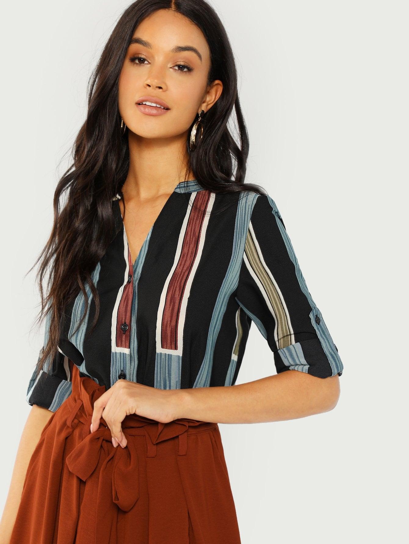 SHEINV Cut Neck Striped Shirt