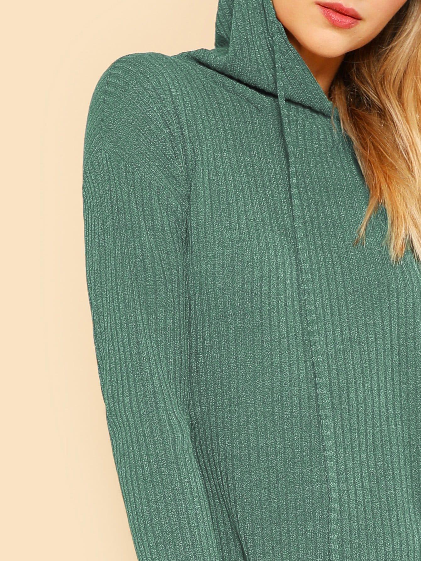 af7930eb93 Solid Rib Knit Hoodie Dress | SHEIN IN