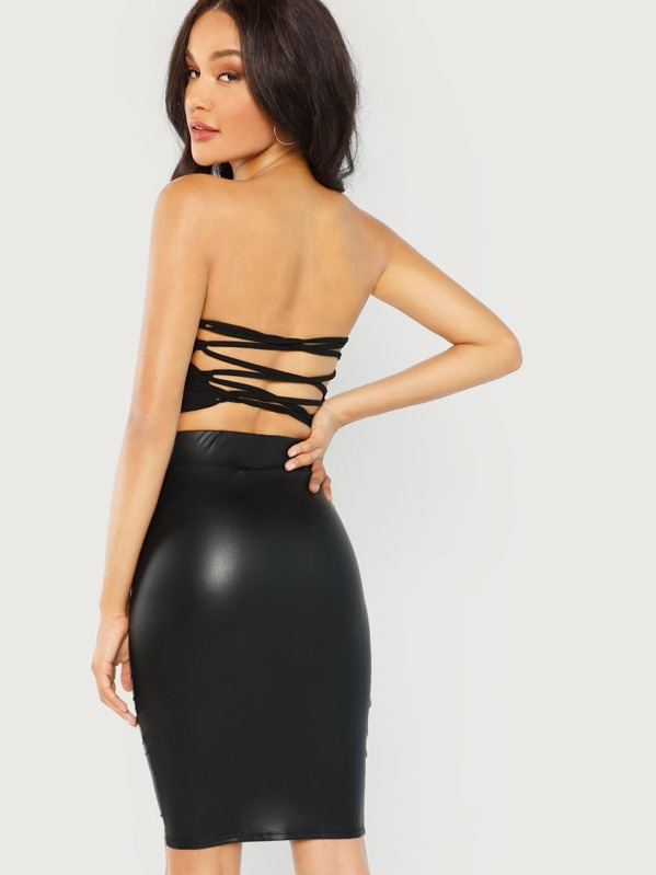 9eb75ef6b6911 Wide Waistband Solid Skinny Skirt