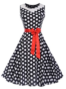 Contrast Mesh Belted Polka Dot Dress