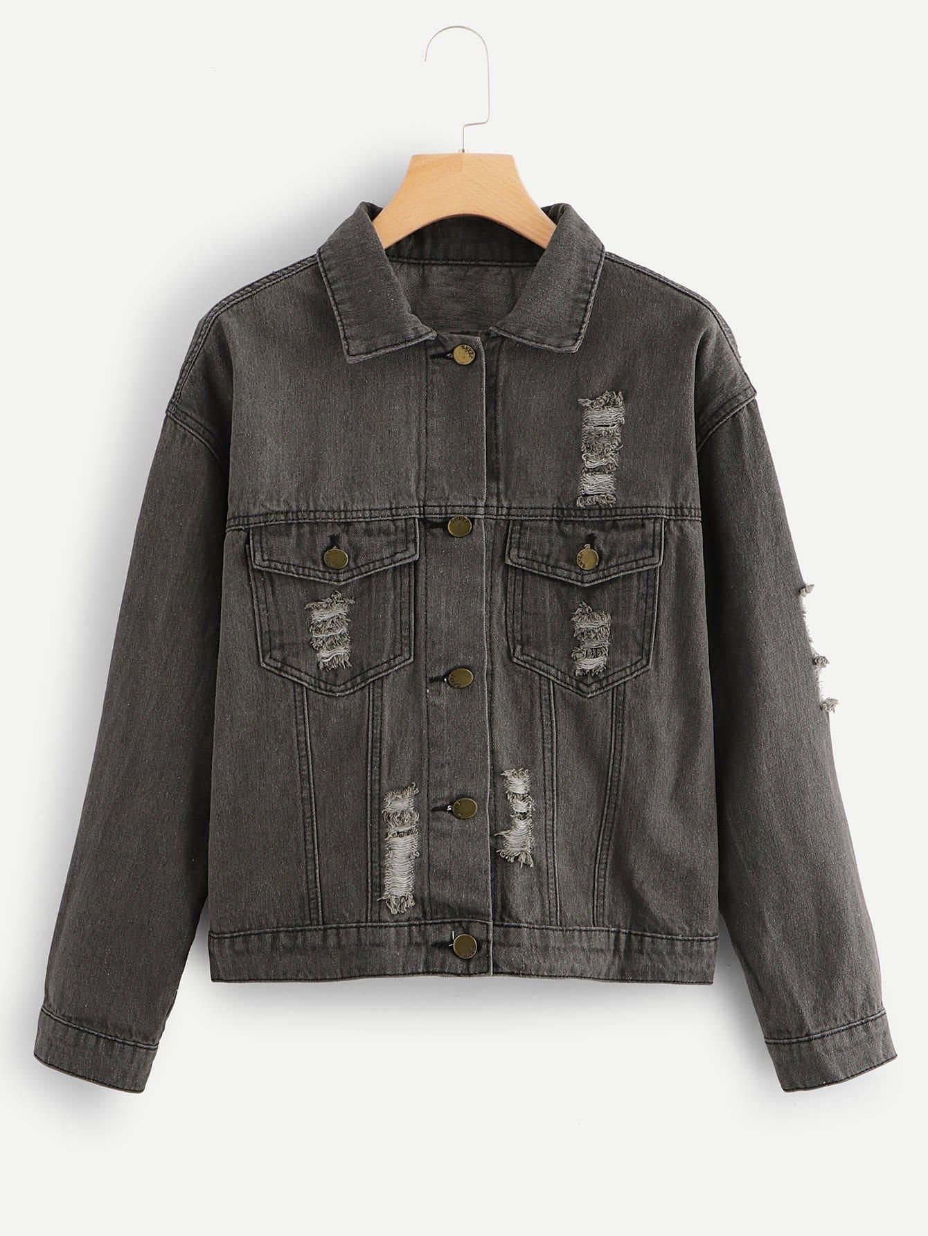 zerrissene jeans jacke mit buchstaben muster hinten shein. Black Bedroom Furniture Sets. Home Design Ideas
