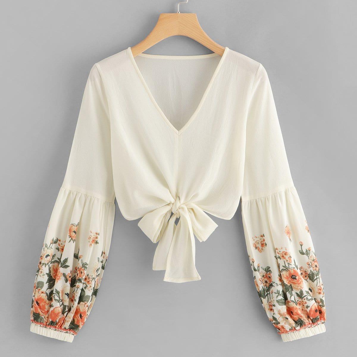 SHEIN coupon: Floral Chiffon Self-Tie Crop Top