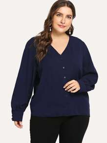 Plus Single-breasted V Neck Blouse