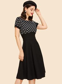 Polka Dot Boat Neck Dress