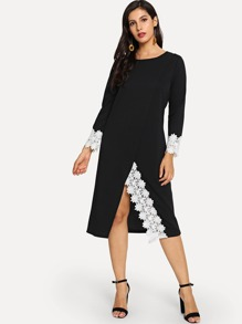 Lace Panel Split Dress