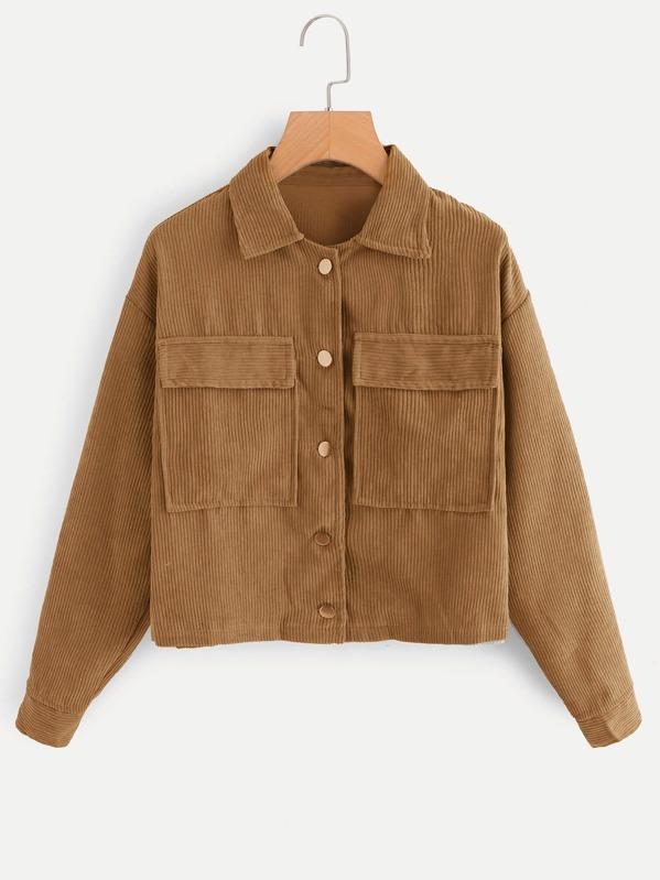 Corduroy Dual Pocket Jacket by Sheinside