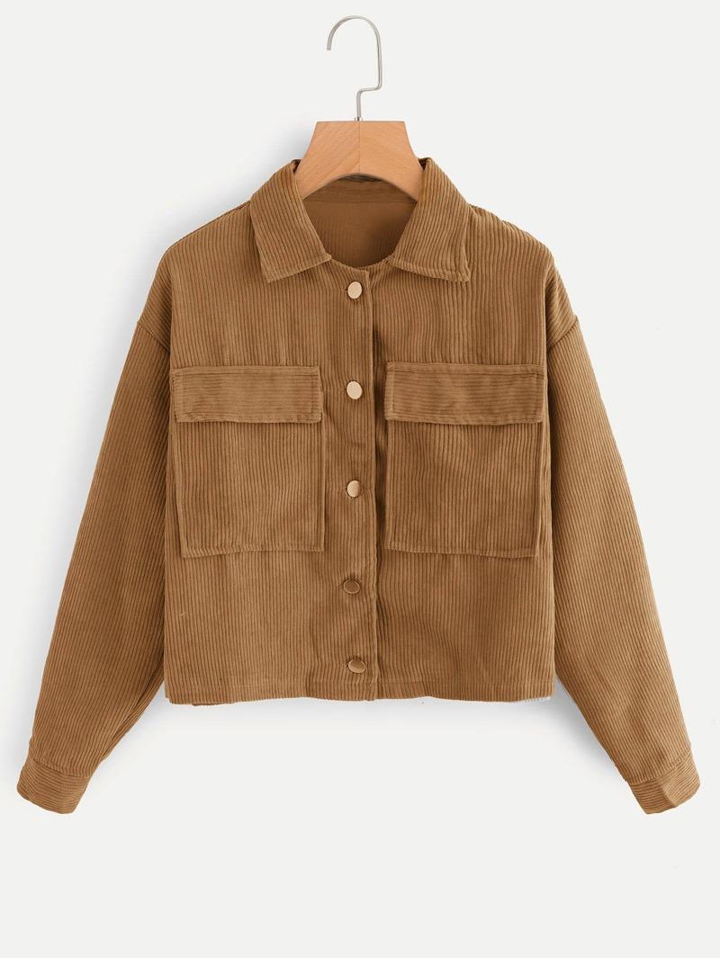 Corduroy Dual Pocket Jacket by Romwe