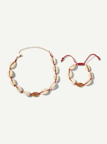 Shell Design Necklace & Bracelet Set