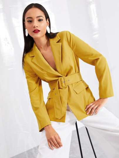 Notched Collar Belted Solid Blazer