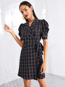 Notch Collar Puff Sleeve Surplice Wrap Grid Dress