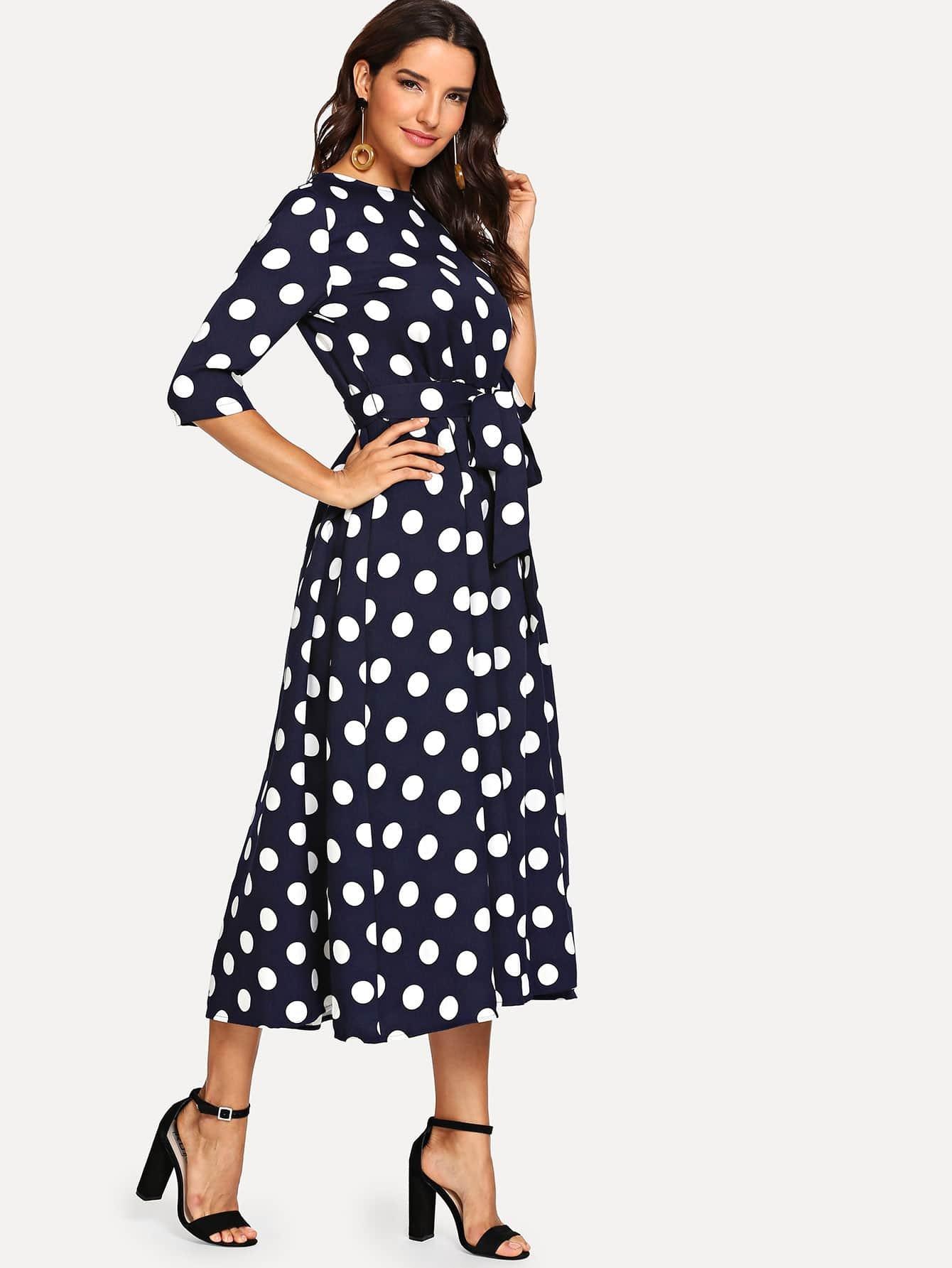 5d14cc241b Button Keyhole Back Self Belt Vertical Striped Dress   SHEIN UK
