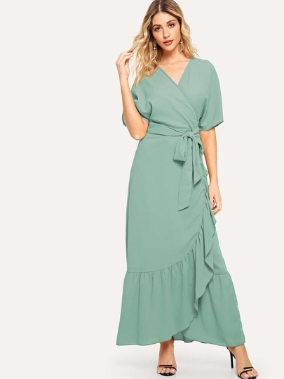 Self Belted Ruffle Hem Surplice Wrap Dress